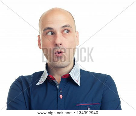 Expressions Of Bald Man Looking Sideways- Fear