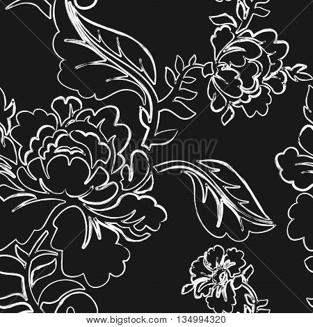 White Rose Seamless Pattern. Retro Floral Texture. Vintage Flora Ornaments. Floral Background. White