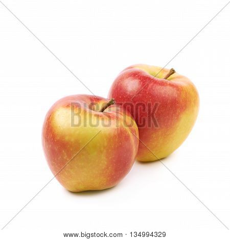 Composition of multiple ripe red and golden jonagold apples isolated over the white background