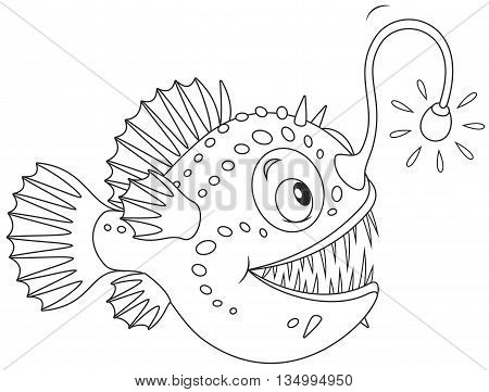 Black and white vector illustration of a deepsea angler fish with its luminous lure