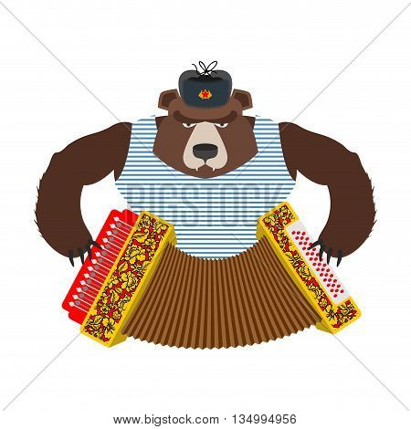 Russian Patriot Bear With Accordion. Wild Animal And Russian Musical Instrument. Traditional Folk Ha