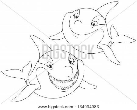 Black and white vector illustration of two smiling grampuses