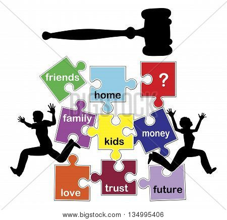 Disastrous and damaging divorce. Concept sign of a divorcing couple losing everything