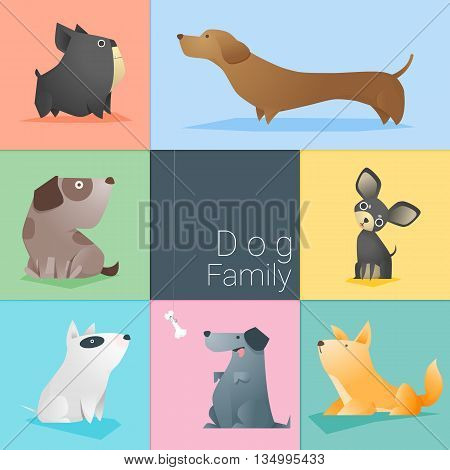 Set of dog family , vector , illustration