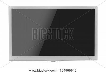 White blank flat screen TV set, isolated on white background.