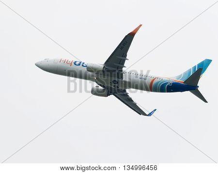 Moscow - June 4 2016: large Boeing 737-8KN (W) budget airline Flydubai takes off at the airport Vnukovo June 4 2016 Moscow Russia