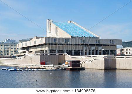 KAZAN, RUSSIA - MAY 02, 2016: View of the building of the Tatar State Academic Theatre named Kamala Galiasgara. Historical landmark of the city Kazan