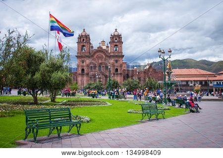 CUSCO PERU-MARCH 08 2015: Plaza De Armas and Iglesia de la Compania Cusco Peru