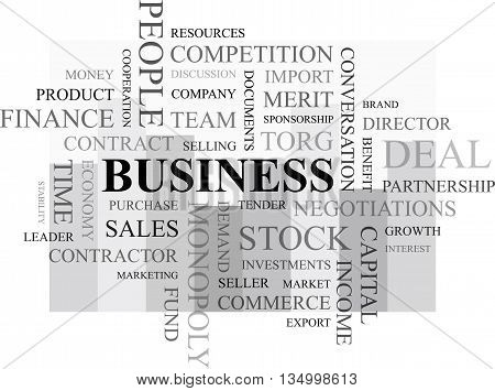 The inscription business. A set of words on the subject of business.