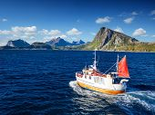 Fishing boat in Norway fjord - sea in lofoten nature. Norway finshing. Norway boat. Norway ocean. poster