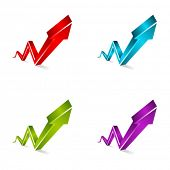 Vector 3d shiny arrows graph set poster