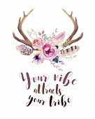 Watercolor floral boho antler print. western bohemian decoration. Hand drawn vintage deer horns with flowers leaves and herbs. Eco style hipster illustration on white. poster