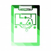 Soccer coach tablet with scheme of game icon. Flat color design. Vector illustration. poster