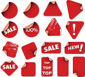 Set of red labels badges and stickers poster