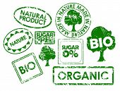 Set of stamps for organic, fresh, healthy, bio food poster