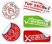 Top secret, approved, rejected, top confidental labels and stickers poster