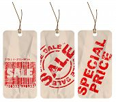 Set of  crumpled paper tags for sale, discount poster