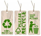 Set of three grunge tags for recycling poster