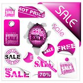 Set of pink sale tickets, labels, stamps, stickers, corners, tags poster