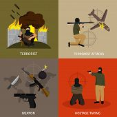 Terrorism icon set with descriptions of terrorist terrorist attacks weapon and hostage taking vector illustration poster