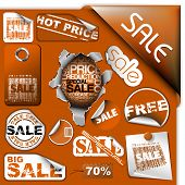 Set of brown discount tickets, labels, stamps, stickers, corners, tags (vector) poster