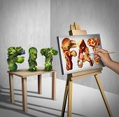 Food temptation concept as a green vegetables shaped as the word fit with a painter painting the text fat made of greasy fast food as a nutrition health metaphor for craving and having an obsession with unhealthy snacks with 3D illustration elements. poster