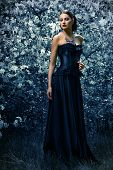 Beautiful brunette woman in long black dress posing in the blossoming forest. Medieval history, old times. Fashion. Gothic style. poster
