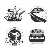 Vintage barber shop vector logo, labels and badges. Shaving and barbershop label, scissors and barber logo, badge or label barbershop illustration poster