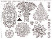 Mandala set and other elements. Vector. Mandala tattoo. Ornament invitation card with mandala. Vintage decorative elements. Tribal, Boho, Bohemian style. Elements for flash tattoo poster