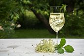 soft drink with ice cubes from elderflower syrup juice champagne soda and mint in a glass on a white wooden table in the garden selected focus narrow depth of field poster