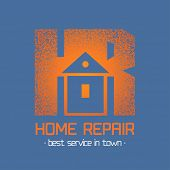 House repair and remodel vector logo. Home rebuilding concept poster