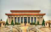 The Chairman Mao Memorial Hall or Mausoleum of Mao Zedong on Tiananmen square in Beijing, China poster
