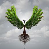 Control your life opportunity concept as a person taking charge and controlling a tree with wings flying towards a goal for success as a psychology symbol for positive thinking in a 3D illustration style. poster