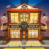 Irish Pub Cartoon Background.  Irish Pub Building Vector Illustration.  Irish Pub Design. Irish Pub Decorative Illustration. poster