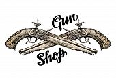 Vintage gun, crossed pistols. Hand-drawn sketch old musket. Vector illustration poster