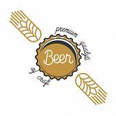 Color vintage beer brewery emblem. Beer labels vector set. Beer badge, alcohol beer, lager beer bottle, beverage beer label illustration poster