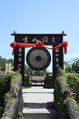 Chinese altar gong in park in Sanya, Hainan (China) poster