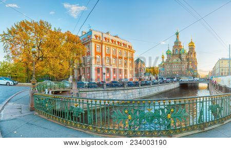 St Petersburg, Russia - October 3, 2016. Panorama Of St Petersburg, Russia -cathedral Of Our Savior