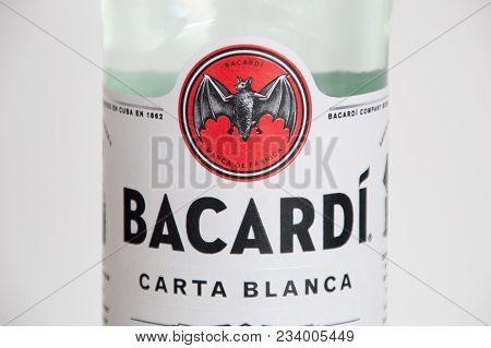Pruszcz Gdanski, Poland - March 30, 2018: Close-up For Logo Of Bacardi At Bacardi Carta Blanca Rum B