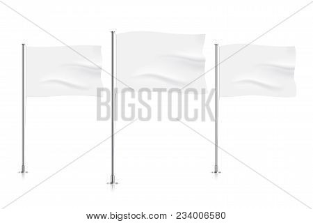 White Waving Flags. Clean Horizontal Waving Flags, Isolated On Background. Vector Flag Mockup.