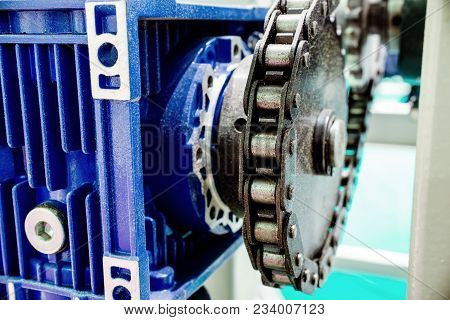 Gear Wheel Worm Gear. Mechanical Chain Transmission Close-up.