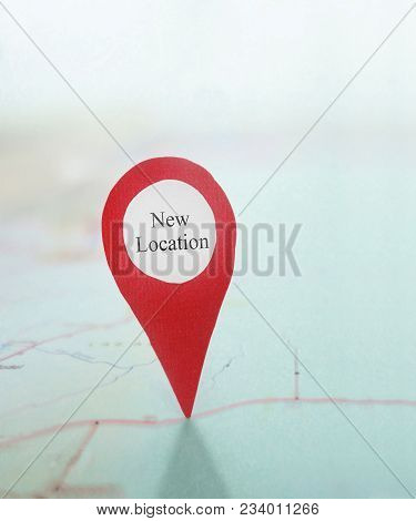 Red And White New Location Locator On A Map