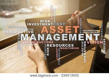 Asset Management On The Virtual Screen. Business Concept. Words Cloud
