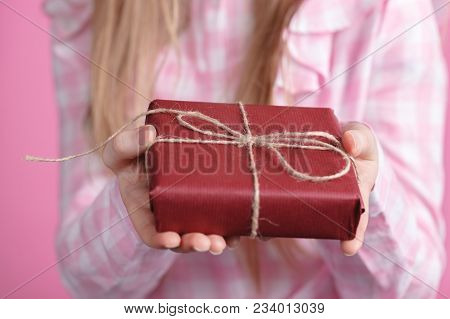 Gift For Lover From Female, Holding Giftbox In Hands