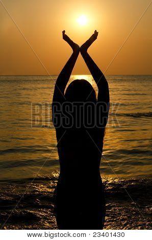 Female Silhouette Against A Decline In The Sea