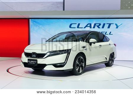 Thailand,bangkok - 31 March 2018 : New Honda Clarity Fuel Cell Car White Color On The 39th Bangkok I