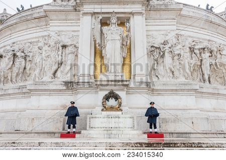 Rome, Italy, March 07, 2018: Horizontal Picture Of Tomb Of Unknown Soldier Victor Emanuele Monument