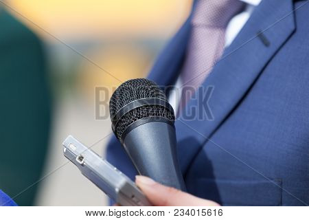 News Conference. Media Event. Public Relations - Pr. Microphone.