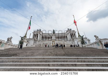 Rome, Italy, March 07, 2018: Wide Angle Picture Of The Great Victor Emanuele Monument, Located In Hi