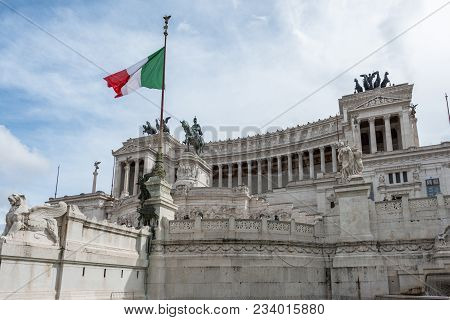 Rome, Italy, March 07, 2018: Wide Angle Picture Of The Great Victor Emanuele Monument During Sunny D